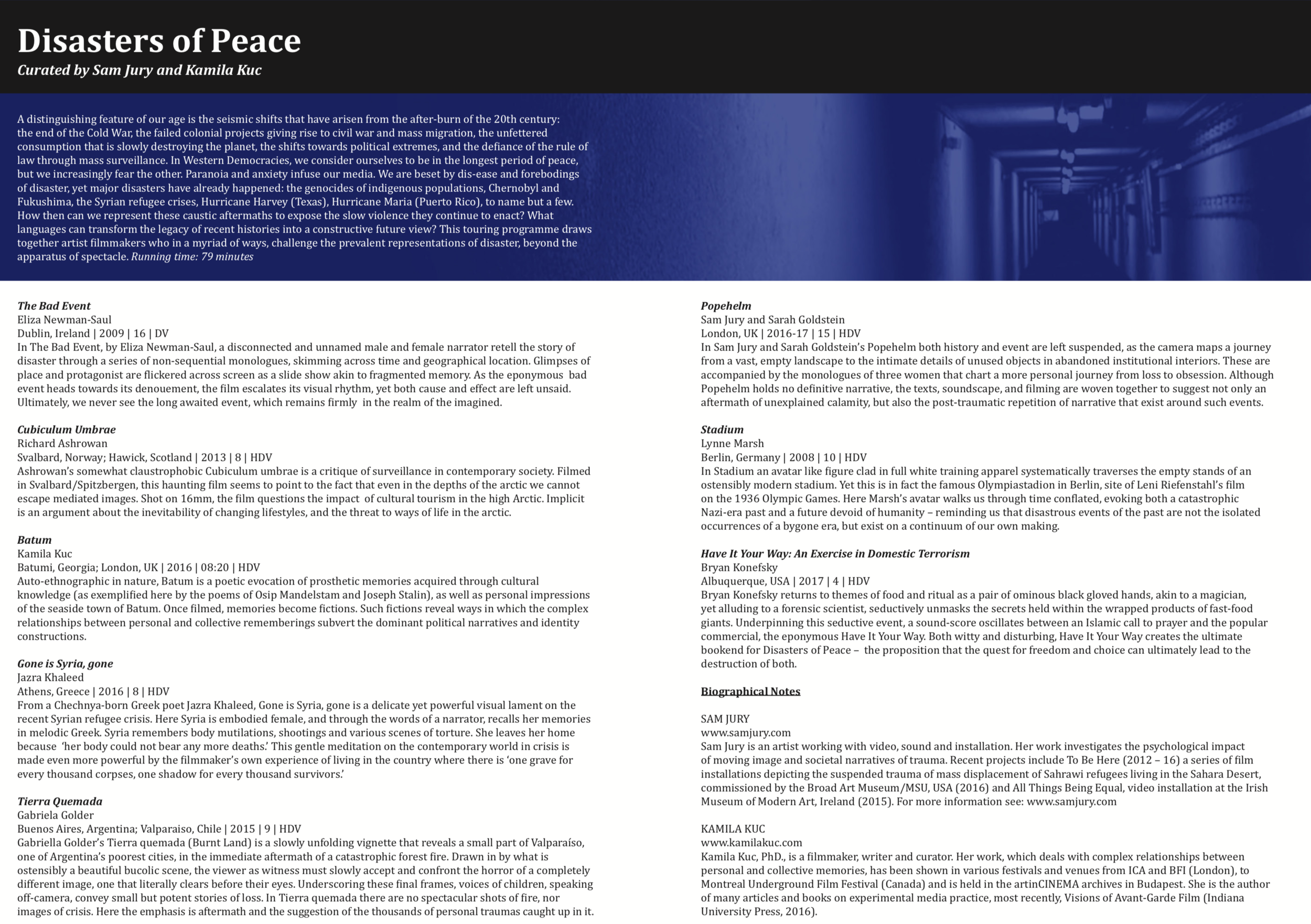 Disasters of Peace vol.4 programme notes