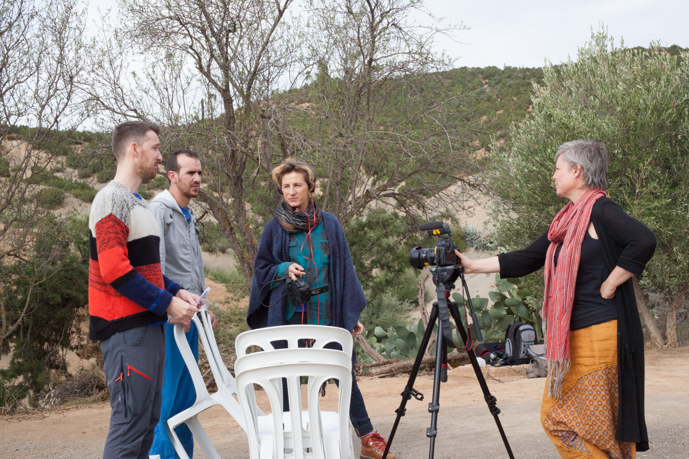 Left to right: Brendan StJohn (co-ordinator of the Changing Lives Programme Morocco), Youness Beraouz (local resident) and Cat Wilson (photographer) on a set of a promotional video for the Changing Lives Programme