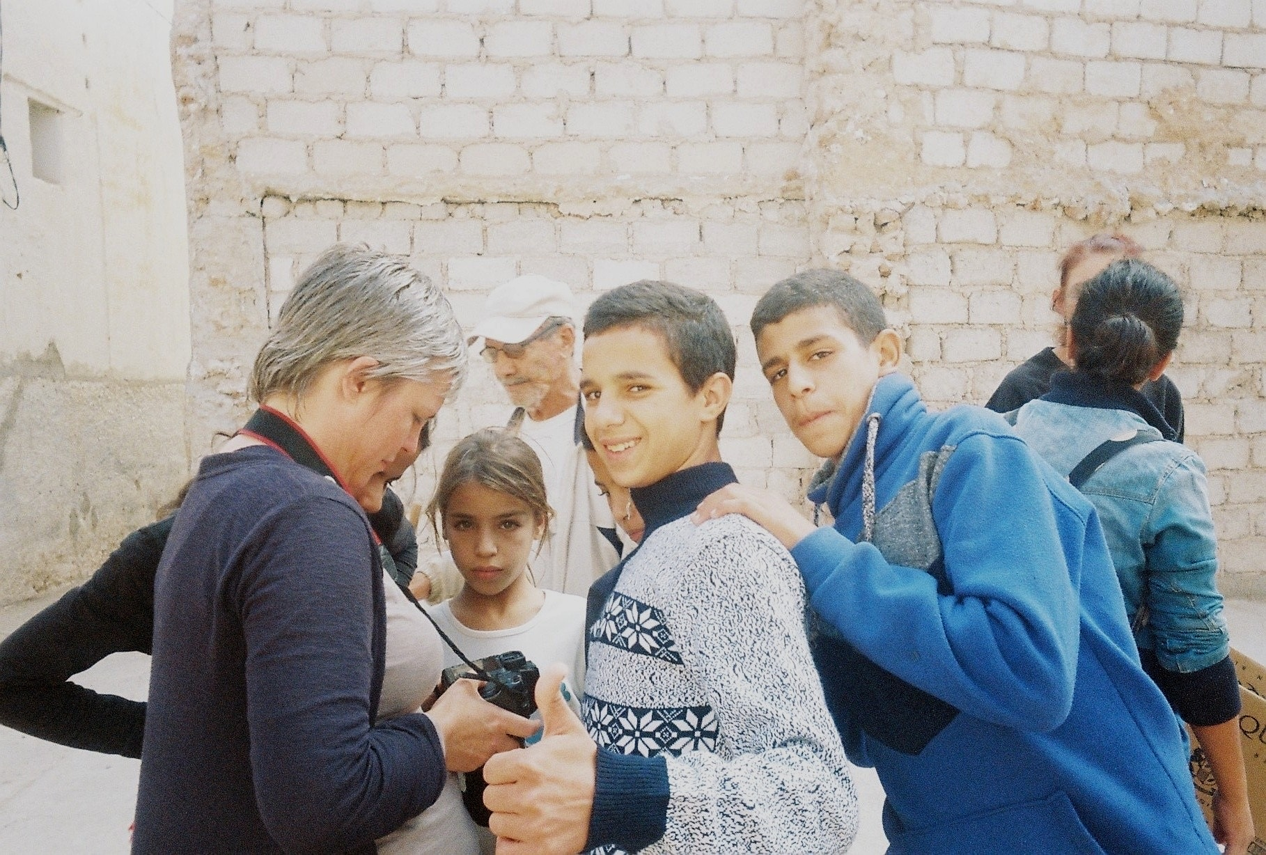 Cat Wilson with local children and youth, Sefrou, Morocco