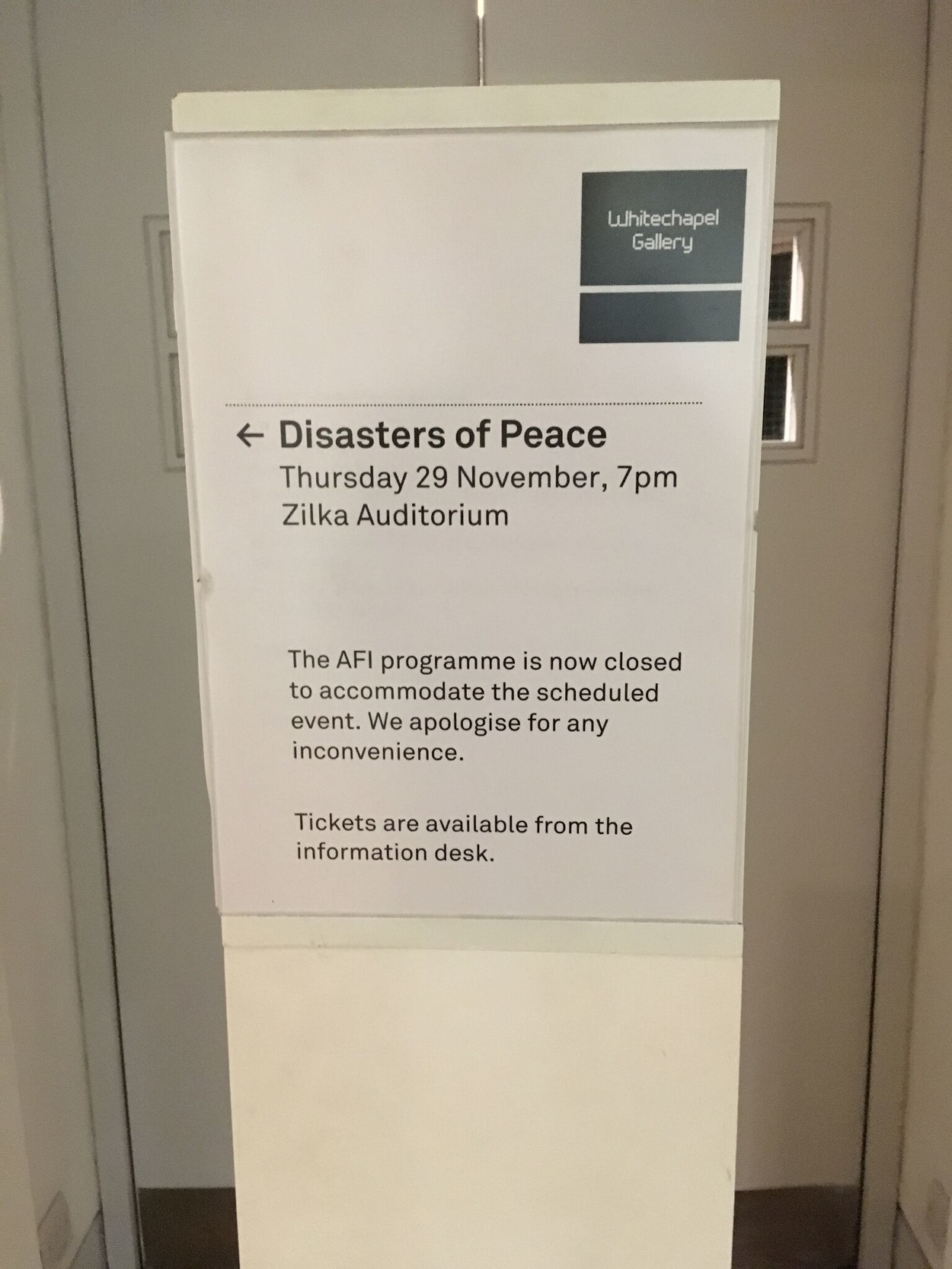Sold out show of Disasters of Peace vol.6 at Whitechapel Gallery, London. Photo by Zula Ra