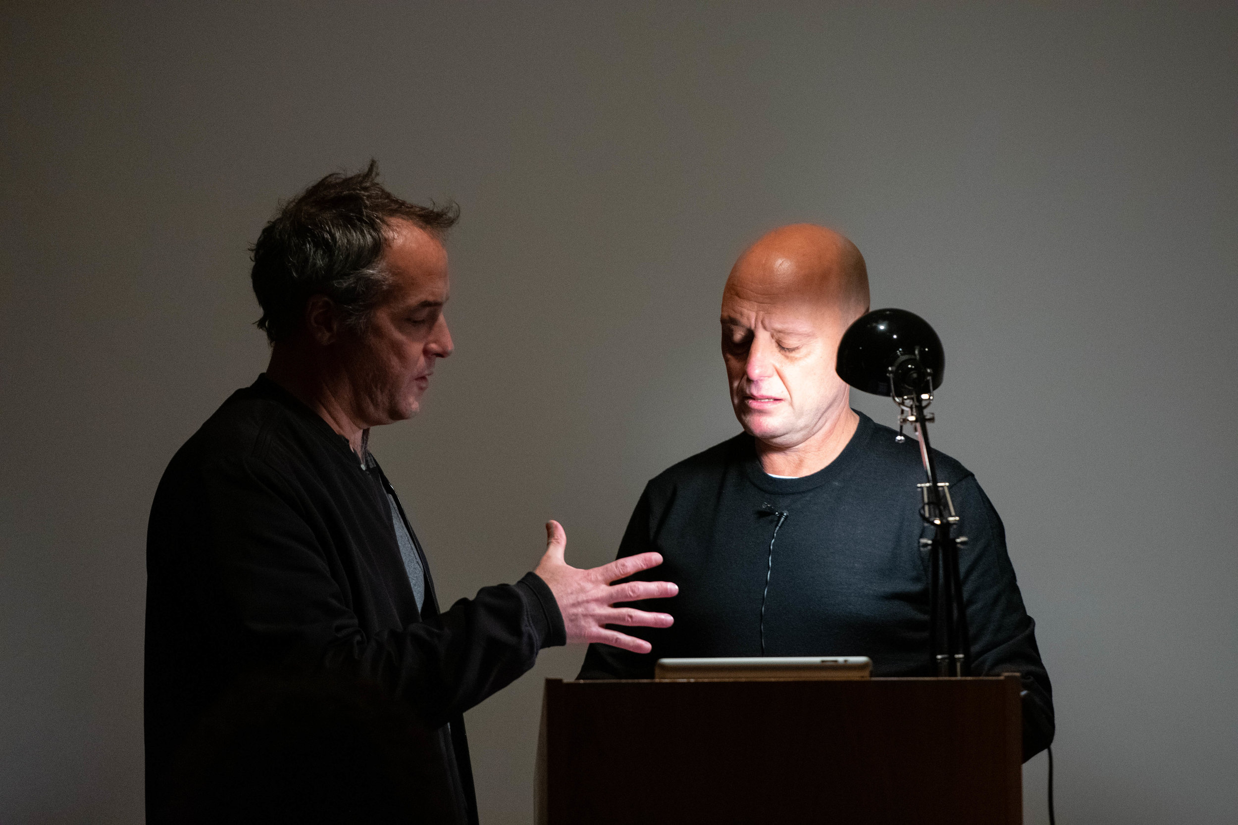 Actor Tzvet Lazar rehearsing 'The Whole Infernal Sequence' with the author and filmmaker, Reed O'Beirne. Photo by Zula Ra