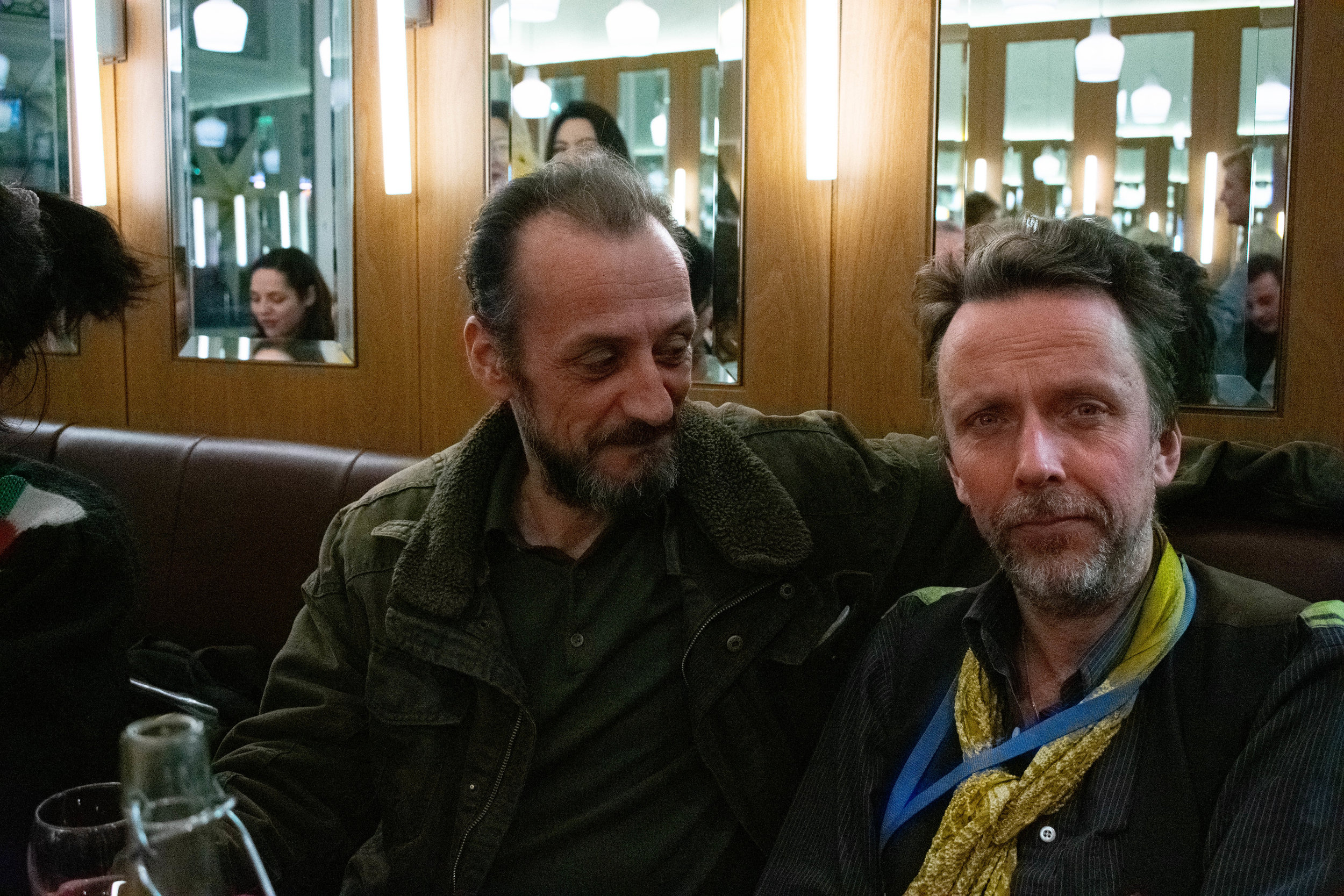 Afterparty. Whitechapel Gallery's Film Curator Gareth Evans with his frequent collaborator, Louis Benassi. Photo by Zula Ra