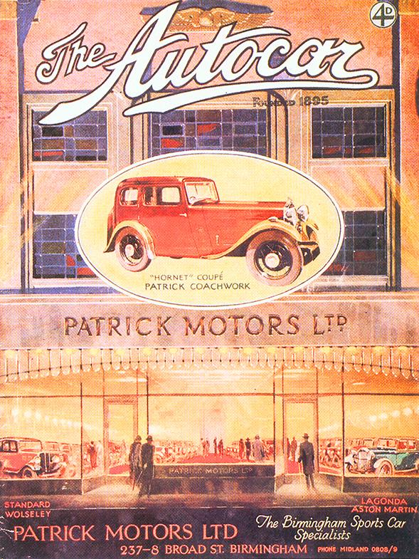 Patrick Motors advertising, c.1930