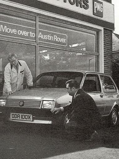 PMG Motors forecourt, c.1980