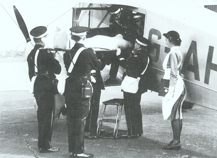 The company's flying ambulance service in action at Elmdon Airport, Birmingham