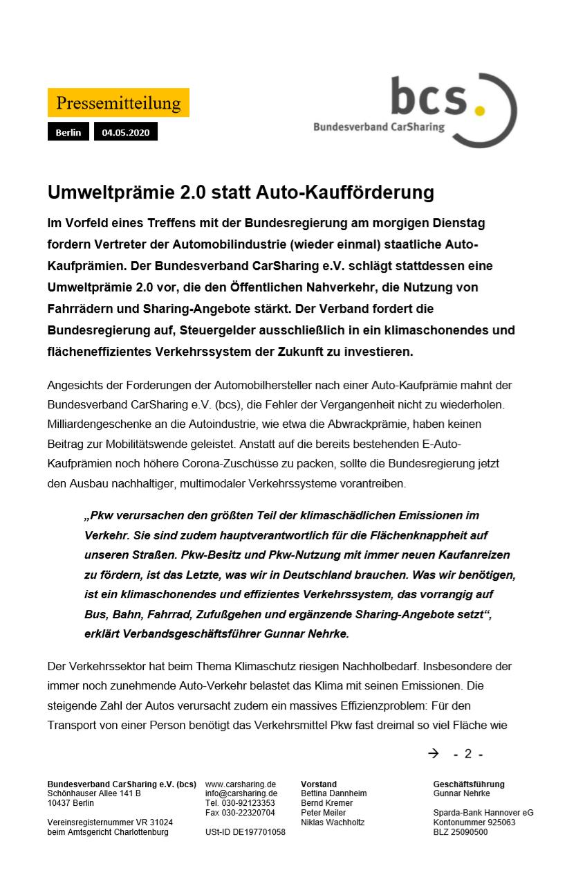 bcs Pressemitteilung — Regio.Mobil