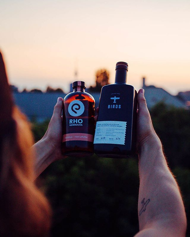 It's a match 🍹💘 when this two trendsetting brands come together it's gonna be pretty flyyyy.. ✈️ as u can see 🔥 Check out our today's Insta Story with @rho_kombucha 🤝 #wearebirds #rhokombucha #birdsgin #sundowner