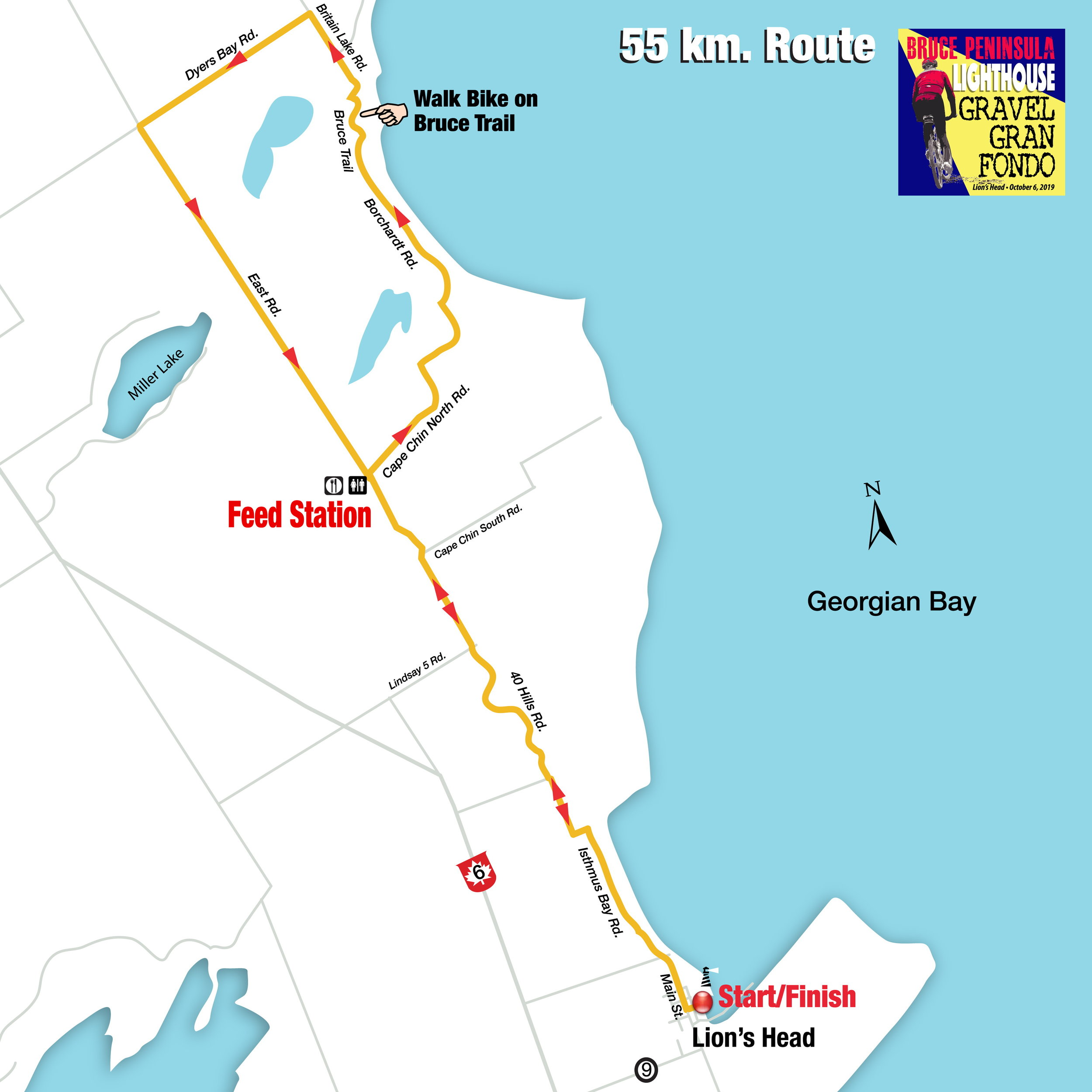 56 km route (click on on map to enlarge)