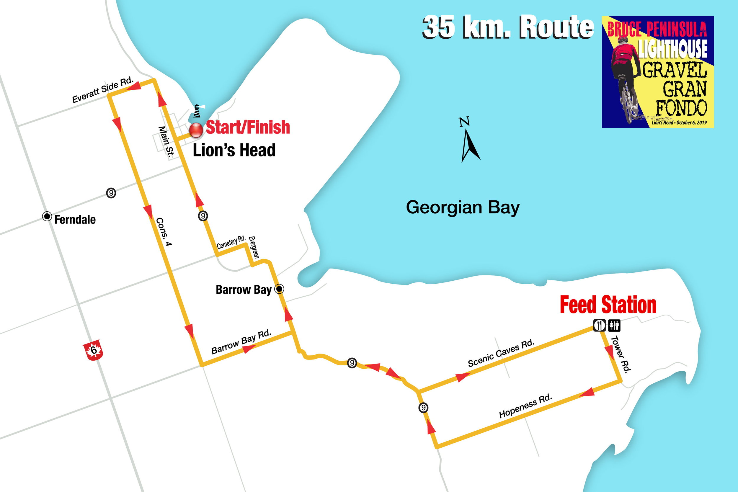 35 km route (click on map to enlarge)