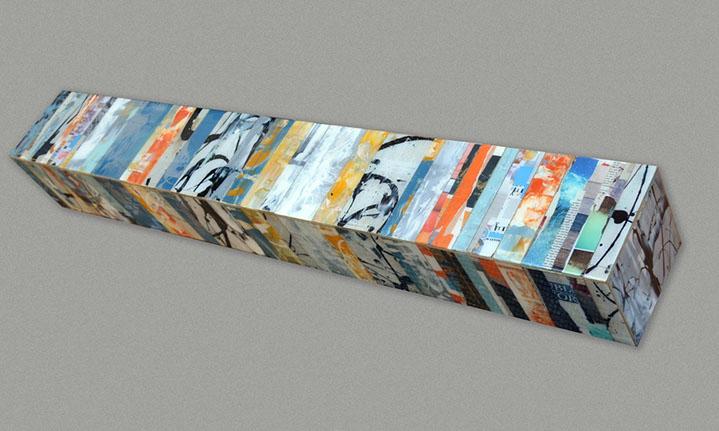 "Andrzej Karwacki, ""EQ Redefined, S Series, 1600-1,2"", 12""x12""x60"", mixed media on panel"
