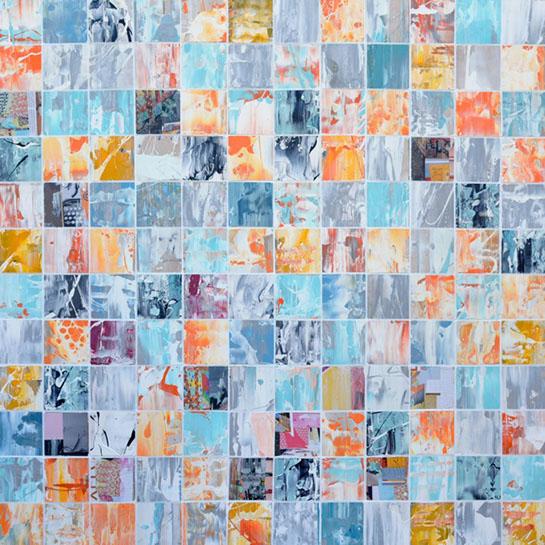 "Andrzej Karwacki, ""EQ Redefined 1600-48-6 sq 144"" 48""x48"", mixed media on panel"