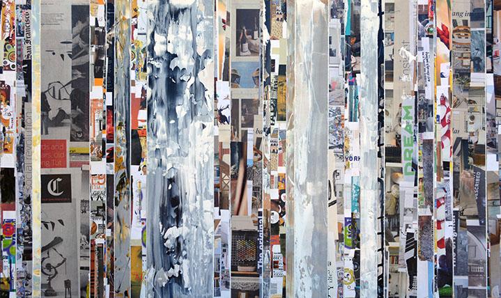 "Andrzej Karwacki, ""EQ Redefined, Chronicle Series 1500-10-2"", 36""x72"", mixed media on panel"