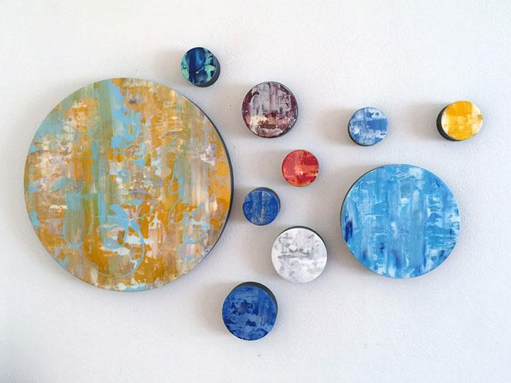 "Andrzej Karwacki, ""Still Water Series, Circles"", mixed media on panel"