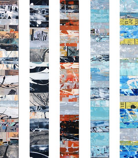 "Andrzej Karwacki, ""EQ Redefined, 1566"" 48""x6"" each, mixed media on panel"
