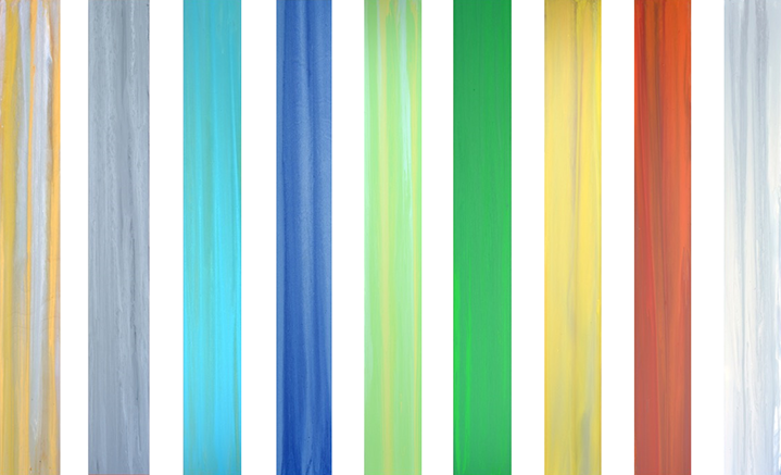 "Andrzej Karwacki, ""Equanimity Series"", 48""x6"" each, mixed media on panel"