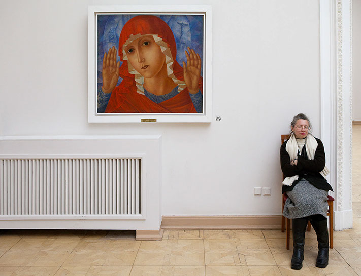 """Andy Freeberg, """"Petrov-Vodkin's  Our Lady of Tenderness of Cruel Hearts , Russian State Museum"""", archival pigment print"""