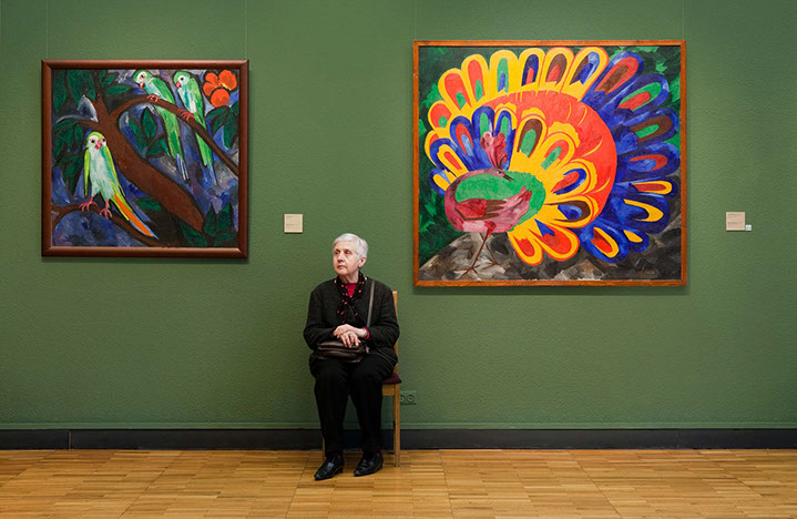"""Andy Freeberg, """"Goncharova's  Parrots and Peacock in the Bright Sunlight , State Tretyakov Gallery"""", archival pigment print"""