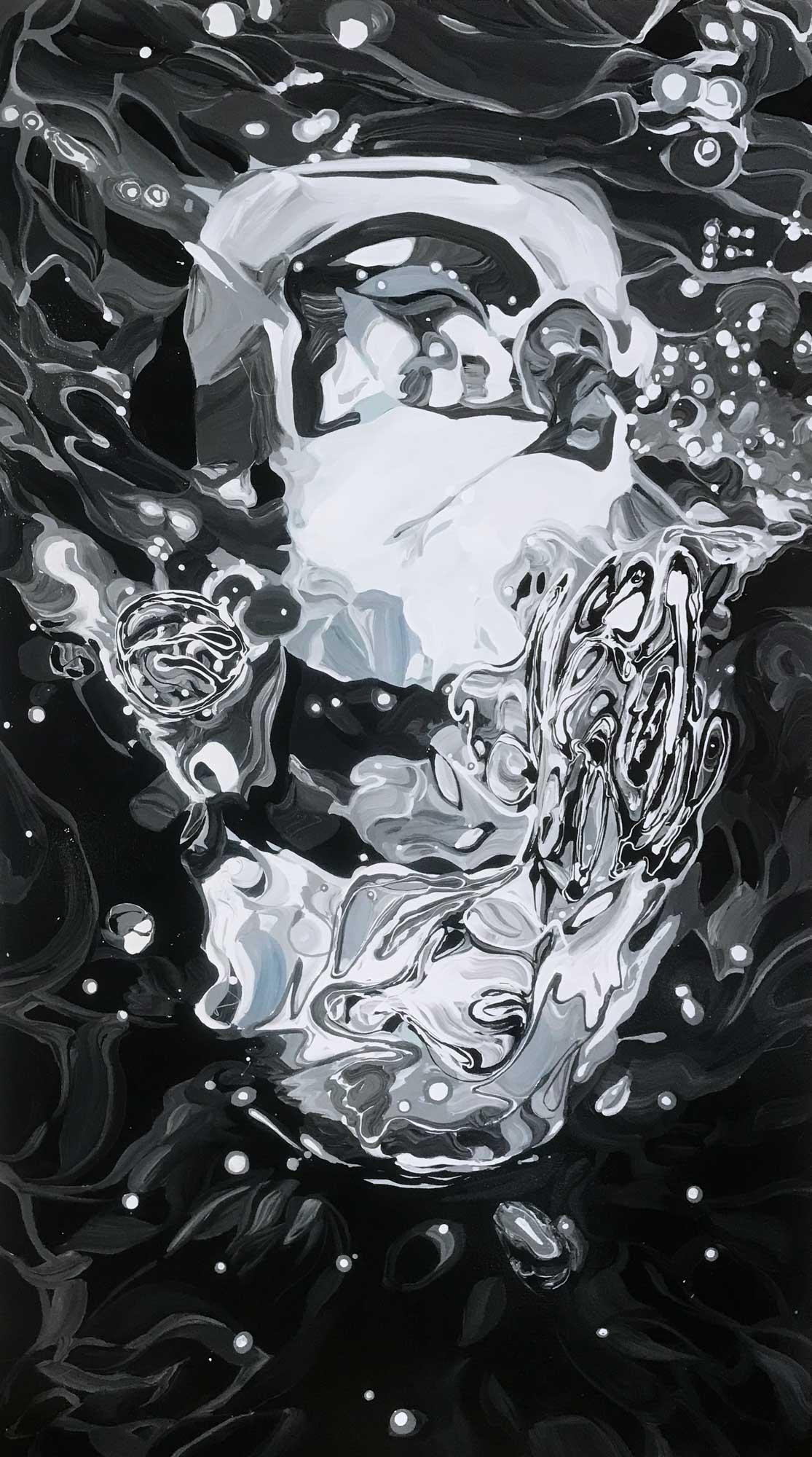 """Benjamin Anderson, """"AudiR8"""", 68""""x38"""", enamel on canvas"""