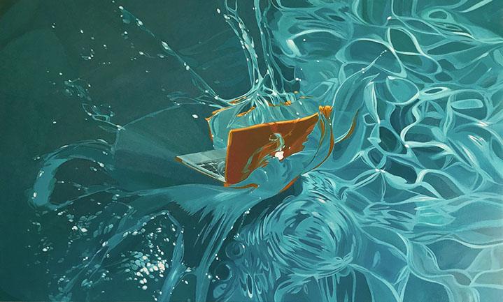 """Benjamin Anderson, """"Mac in Water"""", 38""""x63"""", oil on linen"""