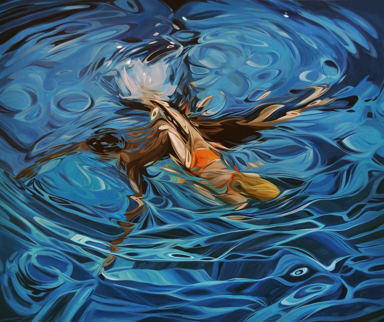 "Benjamin Anderson, ""Two Swimmers, Orange Bikini"", 48""x60"", oil on linen"