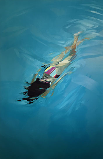 "Benjamin Anderson, ""Dusk Dip"", 72""x48"", oil on linen"