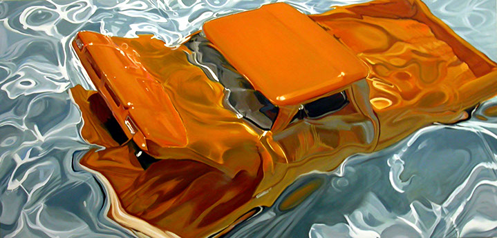 """Benjamin Anderson, """"62 Chevy on Water"""", 72""""x144"""", oil on linen"""