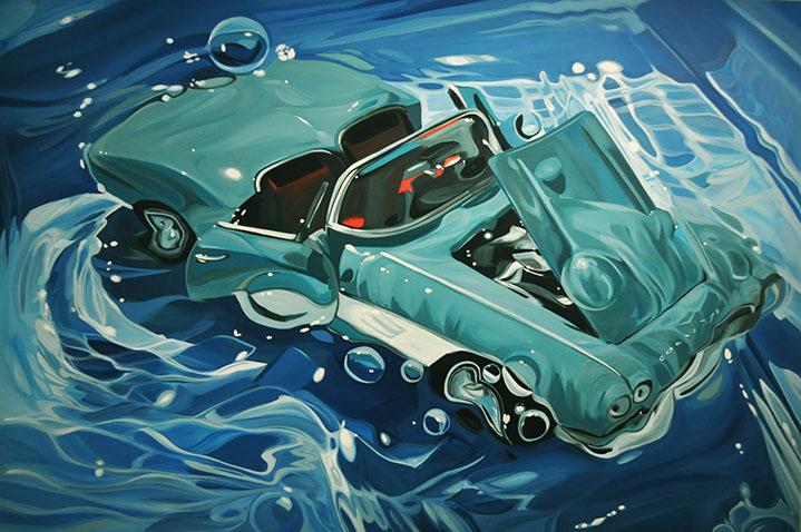 "Benjamin Anderson, ""61 Corvette"", 48""x72"", oil on linen"