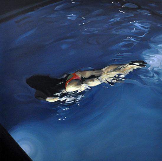 "Benjamin Anderson, ""Evening Swim"", 48""x48"", oil on linen"