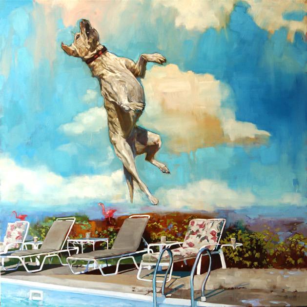 """Carol O'Malia, """"Dog Days of Summer"""", 48""""x48"""", oil on canvas"""