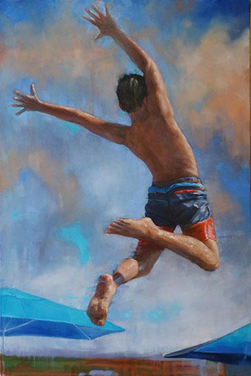"Carol O'Malia, ""Fly Like a G6 Light"", 48""x36"" oil on canvas"