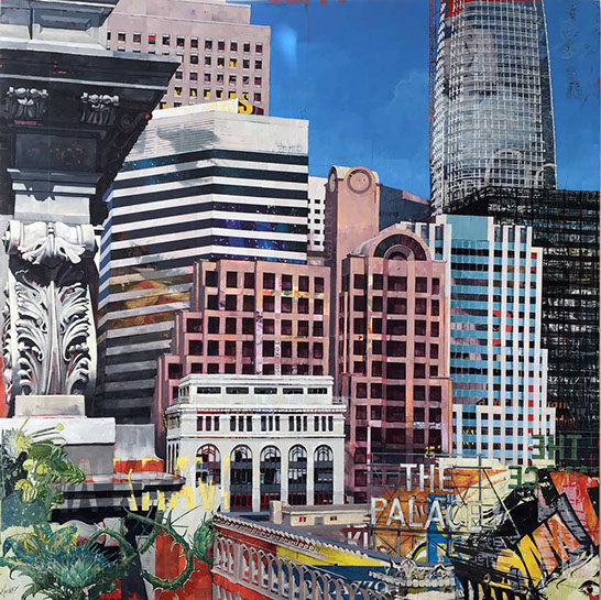 "Catherine Mackey, ""View From Kearny St."", 48""x48"", mixed media on panel"