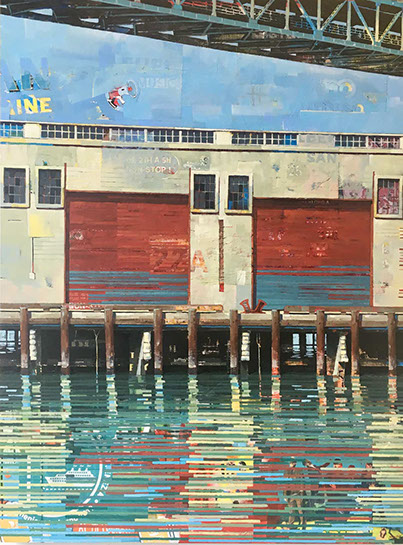 "Catherine Mackey, ""Reflecting on Venice"", 48""x36"", mixed media on panel"