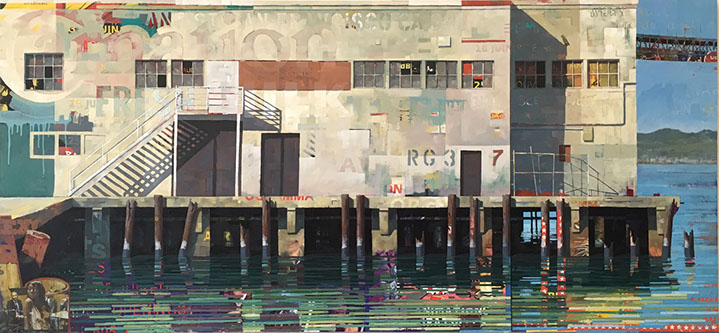 "Catherine Mackey, ""Stair to Nowhere"", 39""x84"", mixed media on panel"