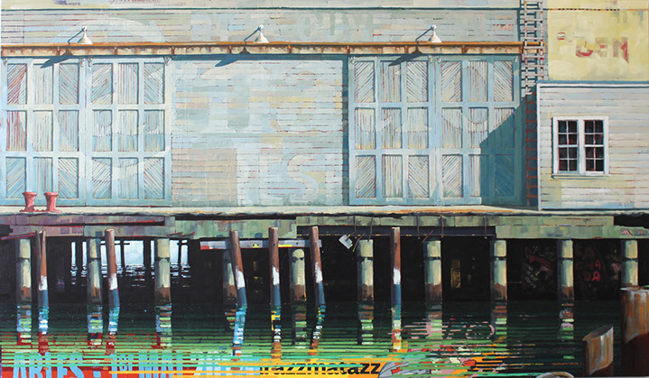 "Catherine Mackey, ""Pier 17"", 42""x72"", mixed media on panel"