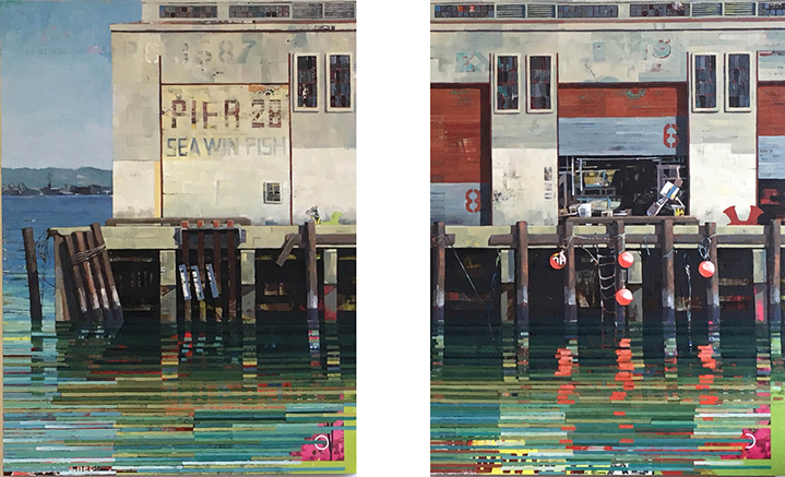 "Catherine Mackey, ""Pier 28 Fish"" (diptych)"", 40""x60"", mixed media on panel"