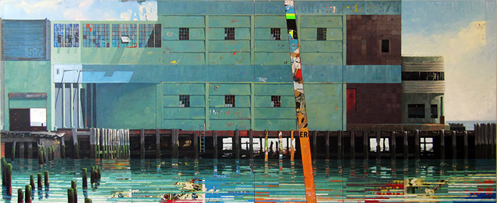 "Catherine Mackey, ""Pier 57 NYC"", 48""x117"", mixed media on panel"
