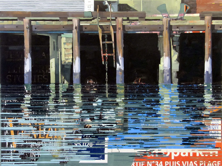 "Catherine Mackey, ""Pier (Venice)"", 36""x48"", mixed media on panel"