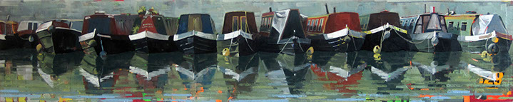 "Catherine Mackey, ""Narrowboats"", 12""x60"", mixed media on panel"