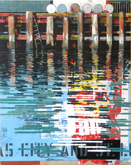 "Catherine Mackey, ""Reflections with Barrels"", 30""x24"", mixed media on panel"
