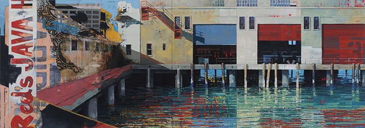 "Catherine Mackey, ""Pier 26 #3"", 36""x102"", mixed media on panel"