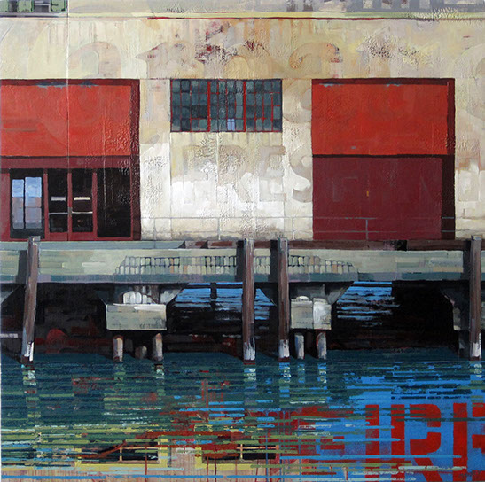 "Catherine Mackey, ""Fort Mason #13"", 48""x48"", mixed media on panel"