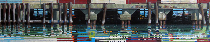 "Catherine Mackey, ""Fort Mason Reflections No. 3"", 12""x60"", mixed media on panel"