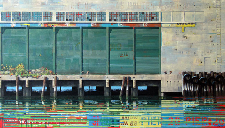 "Catherine Mackey, ""Pier 26 (South)"", 48""x84"", mixed media on panel"