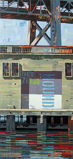 "Catherine Mackey, ""Bay Bridge Over Pier"", 52""x24"", mixed media on panel"