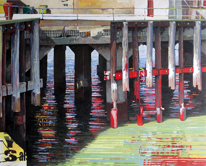 "Catherine Mackey, ""Pier Posts No. 2"", 18""x60"", mixed media on panel"