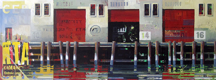 "Catherine Mackey, ""Pier Iconic"", 18""x48"", mixed media on panel"