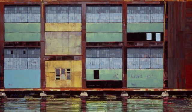 "Catherine Mackey, ""New York Pier"", 48""x64"", mixed media on panel"
