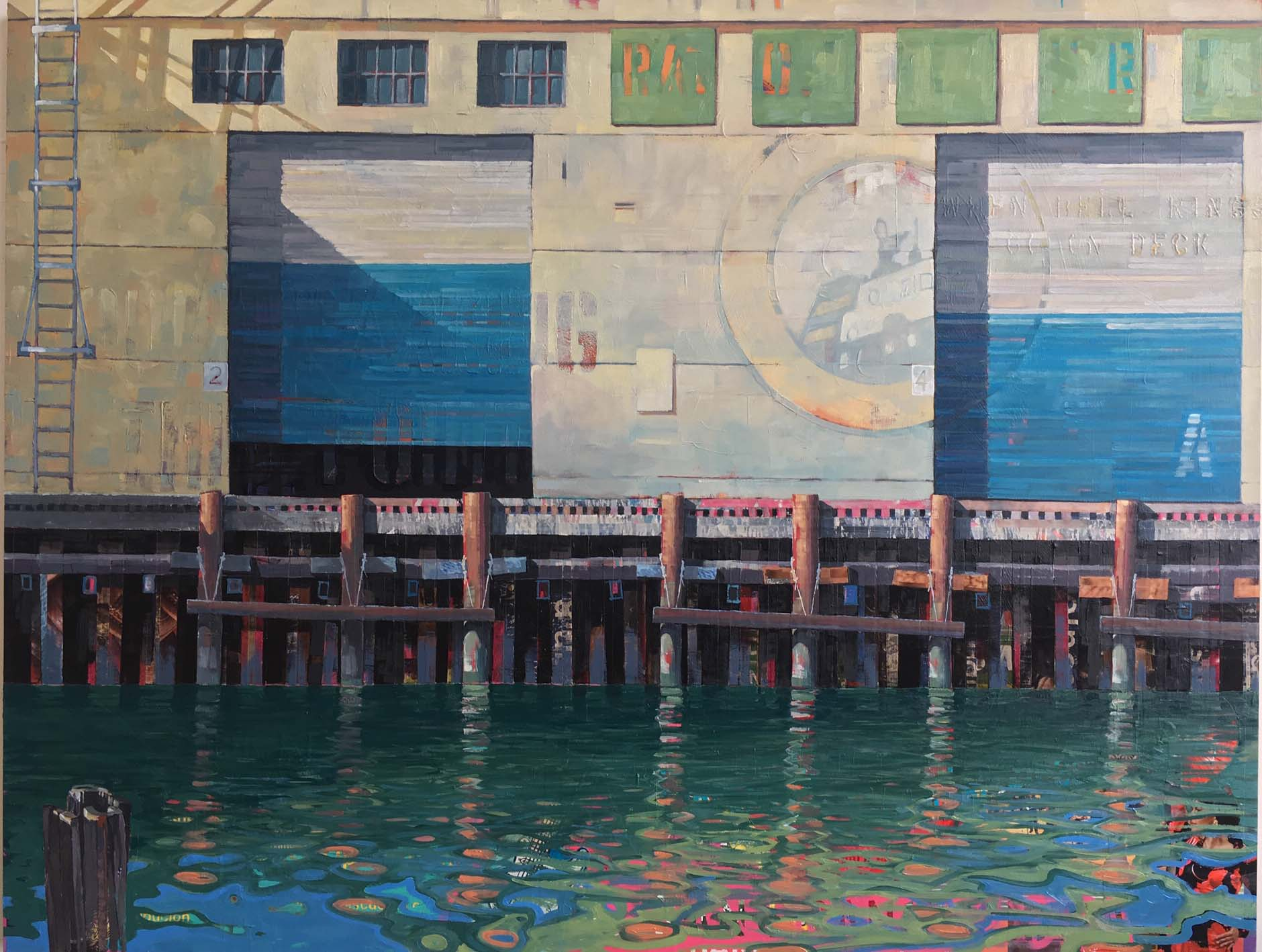 "Catherine Mackey, ""Pier 19 Narratives"", 46""x60"", mixed media on panel"