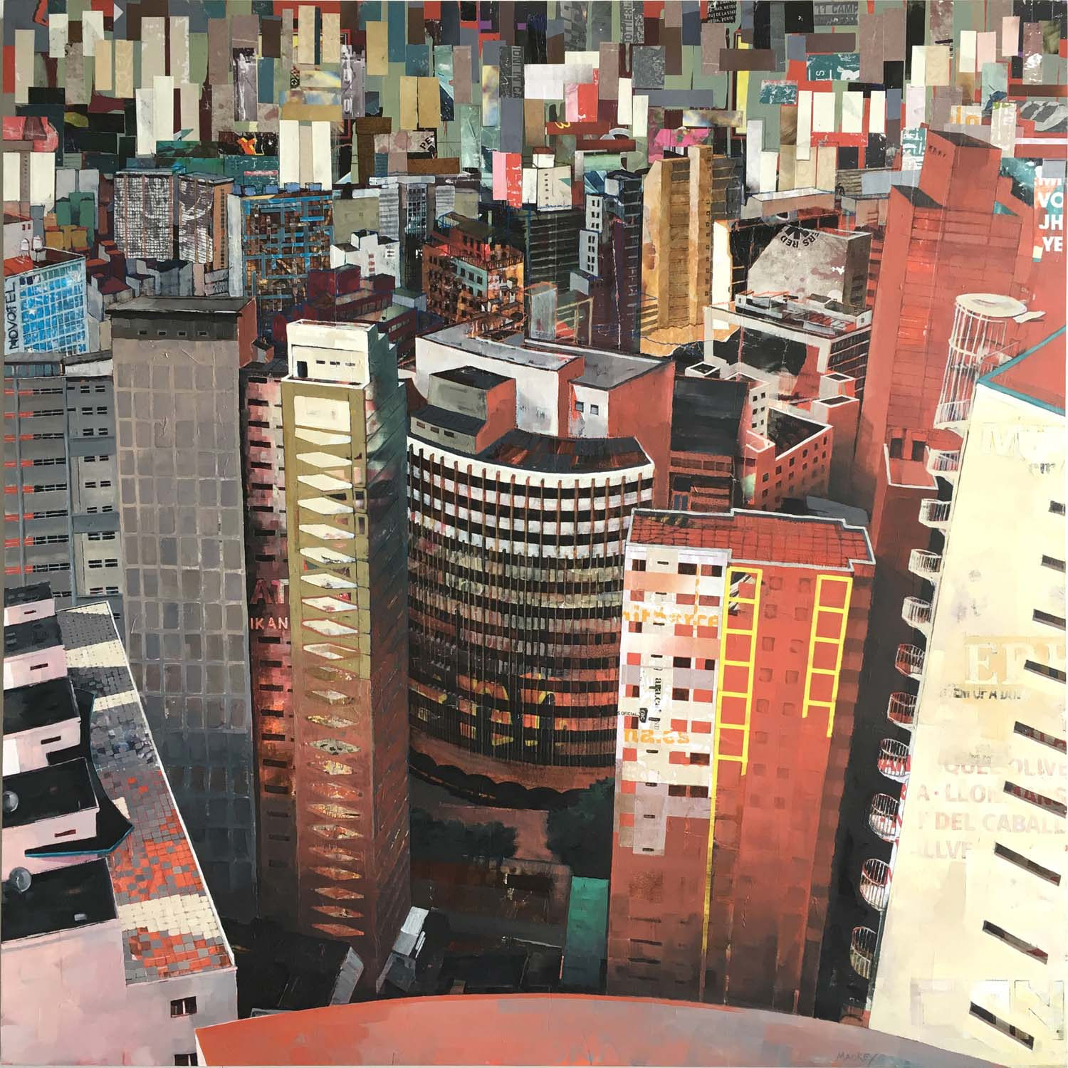 "Catherine Mackey, ""Concrete Jungle (Sao Paolo)"", 48""x48"", mixed media on panel"