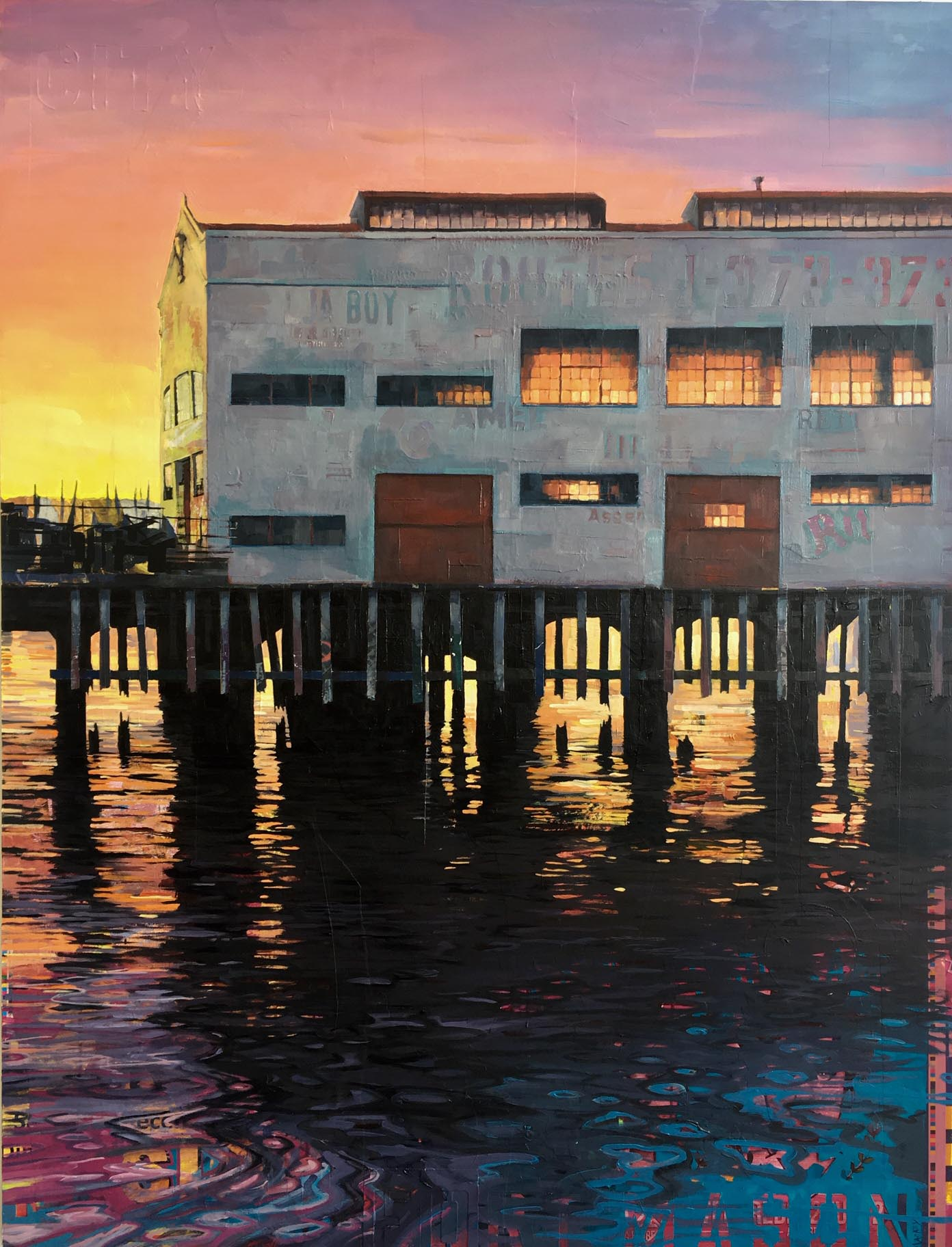 "Catherine Mackey, ""Low Tide at Sunset"", 60""x46"", mixed media on panel"